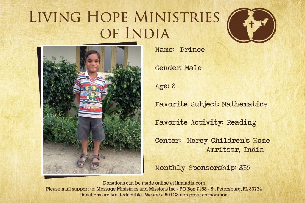 Child Sponsor - India - Prince