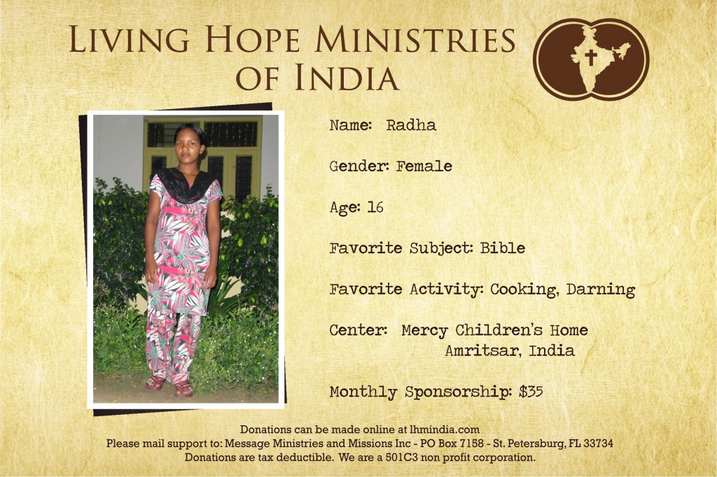 Child Sponsor - India - Radha