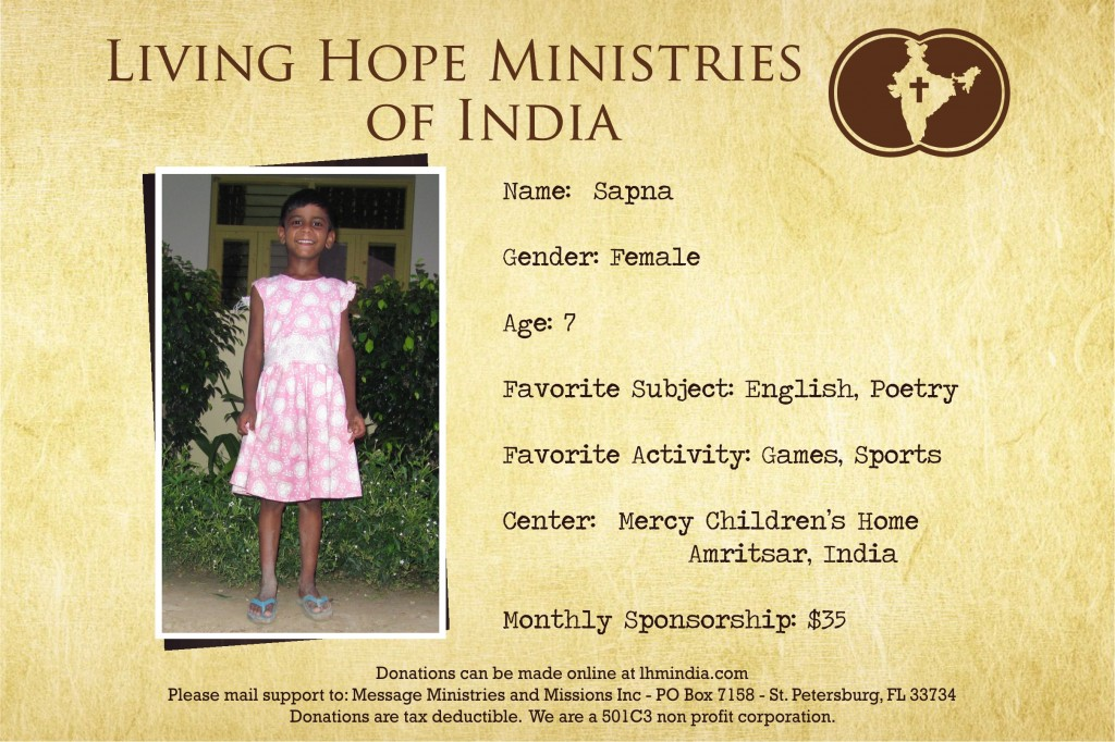 Child Sponsor - India - Sapna